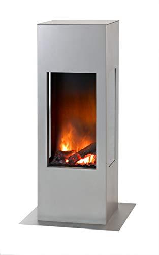 muenkel design Prism Fire - Opti-Myst Elektrokamin Kaminofen Kamin - mit Heizung (Engine 68) -Dekoholz ohne Stehrost - Korpus Edelstahl (matt)