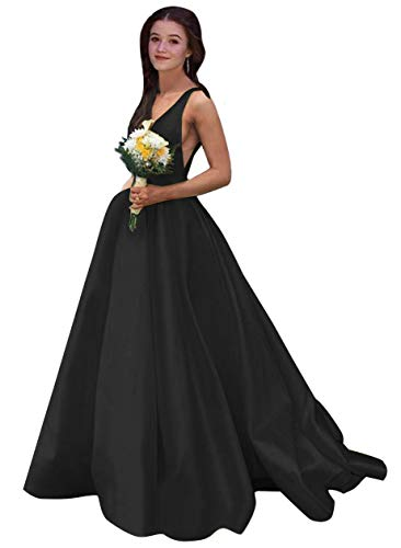 V Neck Prom Dresses Long A Line Satin Ball Gowns with Pockets for Women Formal 2020