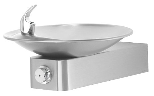 Haws 1001 Satin Finish 18 Gauge 304 Stainless Steel Barrier-Free Drinking Fountain with Sculpted Bowl (Mounting Frame Not Included)