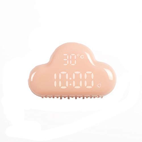 Flexmus Creative Clock Cloud Non-Ticking Alarm Clock USB Charge Temperature LED Clock for Office/Kitchen/Classroom/Nursery Room