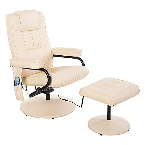 HOMCOM Fauteuil de Massage et Relaxation électrique pivotant inclinable avec Repose-Pied revêtement synthétique Beige