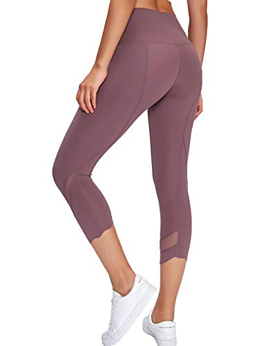 GOLDEN® Yoga Hosen Damen 7/8, Sport Leggings, Elastische Tummy Control Fitnesshose - Nackte Empfindung - Stretch Workout Fitness Jogginghose (Tulpenholz, S)