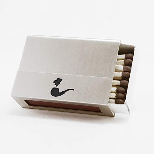 Streichholzschachtel-Hülle aus Edelstahl mit Pfeife