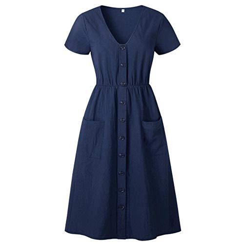 Miwaimao Vestido de verano casual de algodn con cuello en V de manga corta para mujer