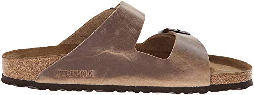 Birkenstock Unisex Arizona Sandal,Waxy Leather Tobacco Brown,39 M EU