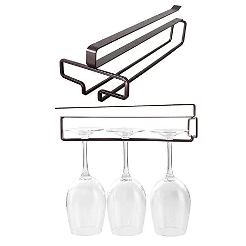 FEMONGY Colgador de Copas, 2 piezas Colgador para copas, cuelga copas, Hecho de acero al carbono, fácil de instalar, estable, sin dañar la copa de vino, adecuado para bar, cocina (8 x 30cm, marrón)