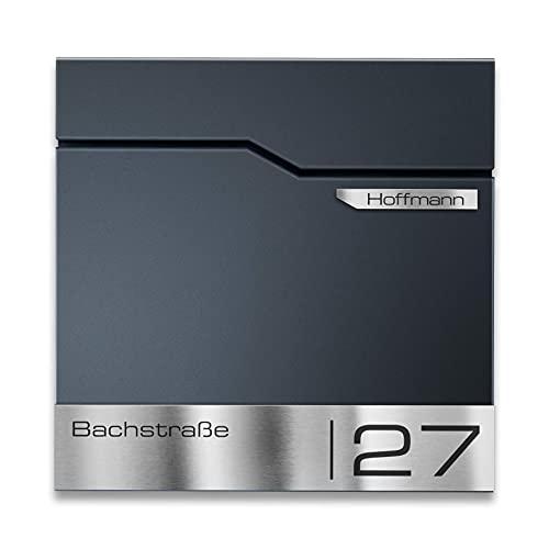 Metzler Design Briefkasten Thobe - inkl. V2A Edelstahl-Namensschild - Wandbriefkasten in Anthrazit RAL 7016 - Postkasten inkl. Zeitungsfach - Größe: 37 x 37 x 10,5 cm