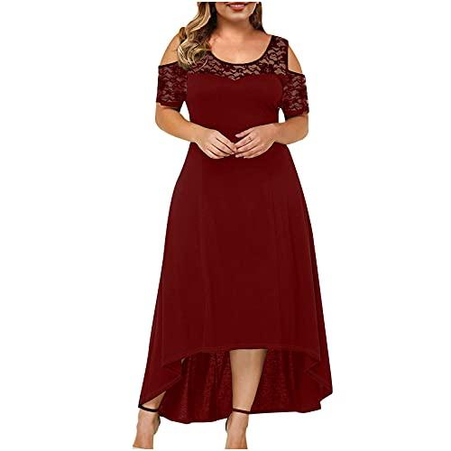 Summer Plus Size Maxi Dresses for Wedding Guest  Women Black Sexy Lace Cold Shoulder Short Sleeve Crewneck Long Dress