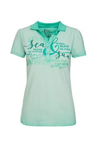 SOCCX Damen Poloshirt Oil Dyed mit Glitter Artwork