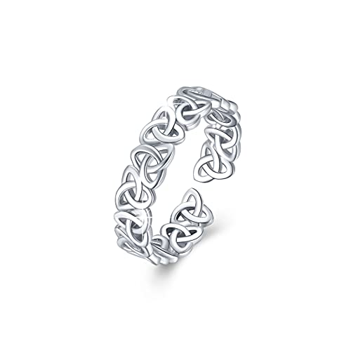 Celtic Knot Ring 925 Sterling Silver Triquetra Ring Wedding Band Stackable Ring Jewelry Celtic Gifts for Women Men