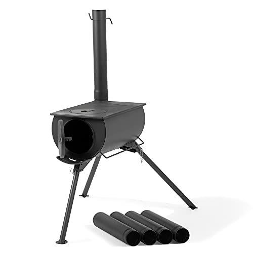 CampFeuer Zeltofen | 58 x 86 x 240 cm | schwarz | Tragbarer Holzofen für Camping, Outdoor, Zelt | Zeltheizung Camping, Zeltofen Holz, Tent Stove, Zelt Ofen Outdoor