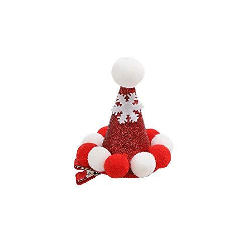 Buoyan Weihnachten Kopfschmuck niedliche Weihnachtsmütze Mädchen Hairpin Stoff Cartoon Weihnachtsbaum-Karte Pony Clip-Haarzusätze,1