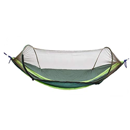 JRXyDfxn Camping Hammock Moskitonetz Outdoor-Reisen schlafen Hängematte Bett Anti Mosquito Camping Hammock Outdoor-Zubehör Dunkelgrün und Hellgrün 1Set
