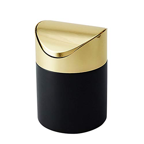 zxb-shop Garbage Bin for Kitchen, Office, Home Metal Round Trash Can with Lid Household Foot-Type Trash Can Removable Trash Recycling Bin Bathroom Waste Paper Basket Silent and Gentle Open and Close
