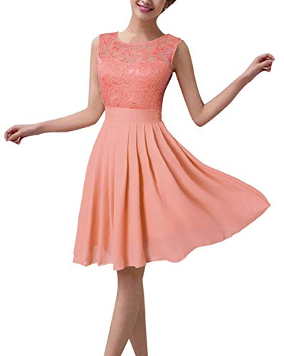 ZANZEA Damen Spitze Ärmellos Party Club Kurz Slim Abend Brautkleid Cocktail Ballkleid Rosa EU 36/US 4