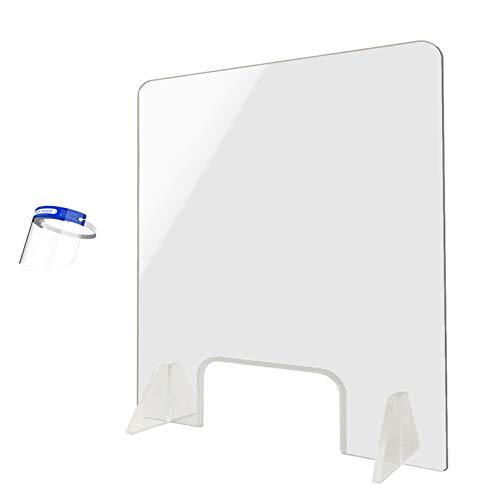 Plexiglass Shield, Plexisglass Screen,Plexiglass Barrier for Desk, Firm Stable Holder, Safety for Classroom Teachers, Acrylic Desk for Counter