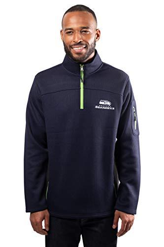 NFL Seattle Seahawks Mens Quarter Zip Fleece Pullover Sweatshirt with Zipper Pockets, Navy, Medium