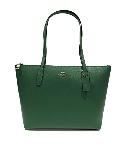 Coach Cross Grain Leather City Zip Tote Bag Purse (SV/Shamrock)