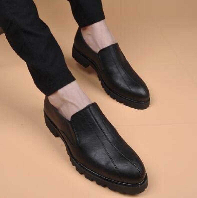 LOVDRAM Men'S Leather shoes Oxfords Men Leather shoes Brand Men'S Formal Leather shoes Dress Vintage Retro Flat shoes Elegant Wedding shoes
