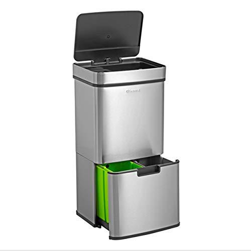 Homra Nexo - Cubo de basura y reciclaje grande con sensor de 3 + 1 compartimentos ( 82,5 x 42 x 31,5 cm) metalico en acero inoxidable, 72l litros