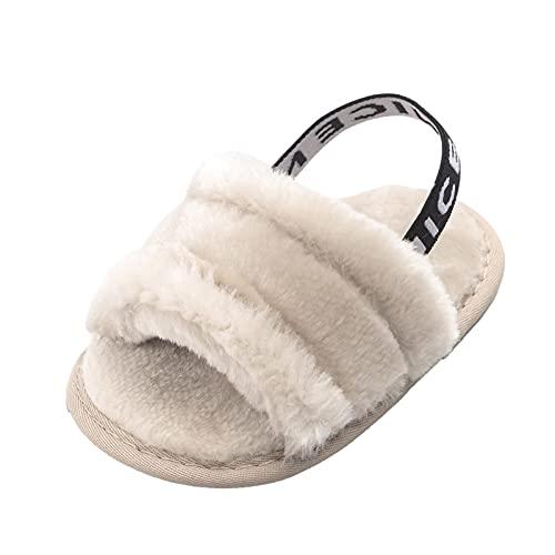 Luoyu Pantoufles en fausse fourrure pour femme - Confortables - En mousse à mémoire de forme - Pour l'été - Chaussures plates en peluche - Pour fille