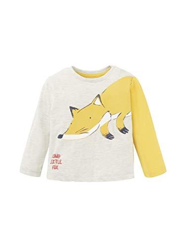 TOM TAILOR Babies T-Shirts/Tops Langarmshirt mit Tier-Print lunar Rock Melange|beige,68