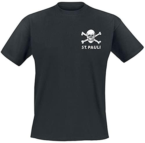 FC St. Pauli Skull II Hombre Camiseta Negro S, 100% algodón, Regular