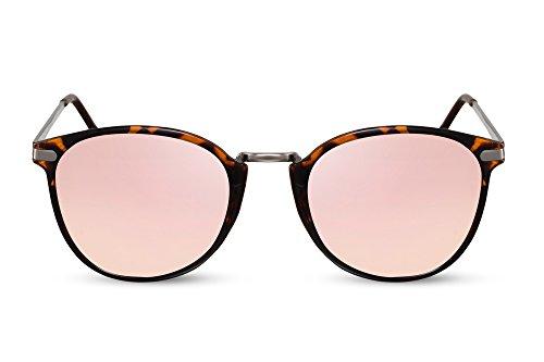 Cheapass Gafas de Sol Redondas Con Espejos Rosas Doradas Marrones Negras UV400 Hombre Mujer