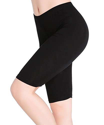 Womens Under Skirt Pants Soft Ultra Stretch Knee Length Leggings Fitness Sport Shorts,Medium,Black