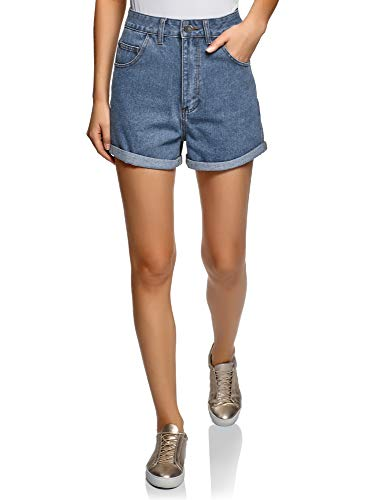 oodji Ultra Mujer Pantalones Cortos Vaqueros con Dobladillos, Azul, ES 44 / XL