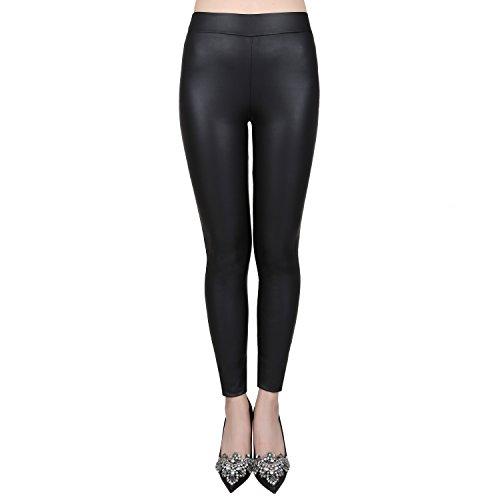 jntworld Women's Faux Leather Low Waisted Leggings Fleece Slim Fit Warm Thick Pants,XX-Large,matt Black