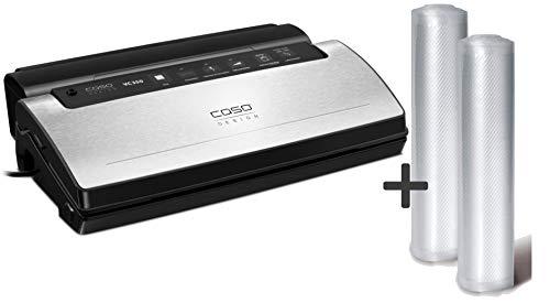 CASO VC350 Vakuumierer – Vakuumgerät, Lebensmittel bleiben vakuumiert bis zu 8x länger frisch, stabile doppelte Schweißnaht, mit Folienbox, ausklappbarer Cutter, inkl. 2 gratis Profi Folienrollen