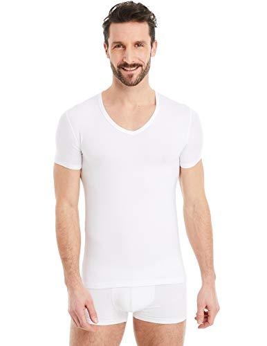 FINN Business Herren Unterhemd Kurzarm mit V-Ausschnitt Micro-Faser Unterziehshirt Männer Weiß Weiss XL