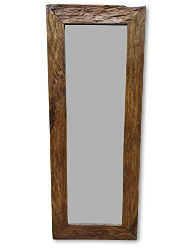 Kinaree houten spiegel HA Long - 140x45 cm teakhouten wandspiegel met frame | garderobespiegel in rustieke look geschikt voor woonkamer, hal en slaapkamer