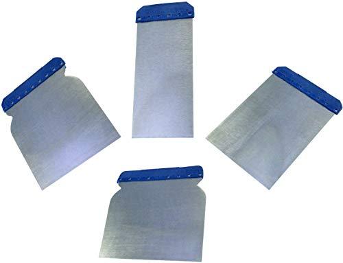 AERZETIX - Set/Kit di 4 spatole/coltelli in metallo per mastice - Larghezza 43/71/88/105mm - Spatole giapponesi - Attrezzi flessibili per carrozzeria - Lisciatura/Inserimento/Carrozzeria - C46020