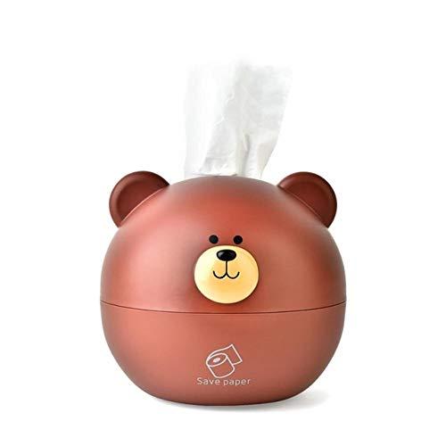 beizi Caja de pañuelos linda caja de almacenamiento de papel en forma redonda caja de pañuelos dispensador de servilletas (color: marrón)