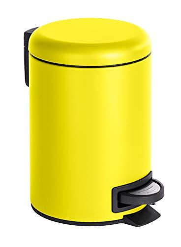 Quantio WENKO Kosmetik Treteimer Leman - Edelstahl, 3 Liter, 21 x 17 x 25 cm (LxBxH), gelb