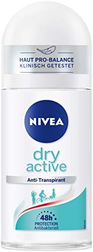 NIVEA Dry Active Deo Roll On (50 ml), besonders starker Antitranspirant Roller, 48h Deodorant mit antibakteriellem Schutz