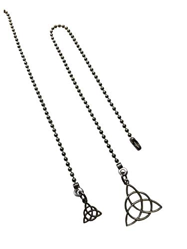 Two Triquetra Celtic Knot Fan Light Pull Chain Ornament Set Silver Tone