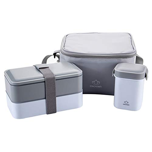 Mens Lunch Box for Adults 2 Tier Bento Box Set with Spoon Fork Shoulder Strap Insulated Lunch Bag Soup Mug Food Container Compartment Lunchbox On The Go Snack Box for Sandwich Meal Prep Grey