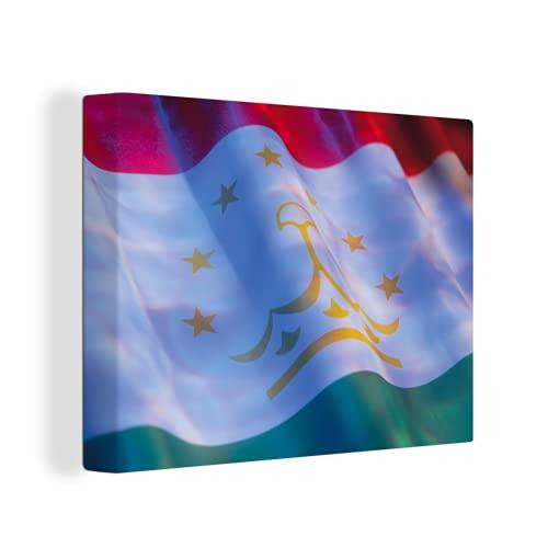 Leinwandbild - Nahaufnahme der Flagge von Tadschikistan - 120x90 cm
