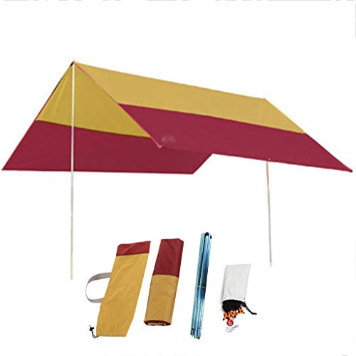 XYF Toldos Carpa Plegable 3×3, Refugio Toldo Camping, PU2000mm + Impermeable, Toldo Al Aire Libre, Sombra Sol De Playa, Postes De Soporte Incluidos, para 2-4 Personas