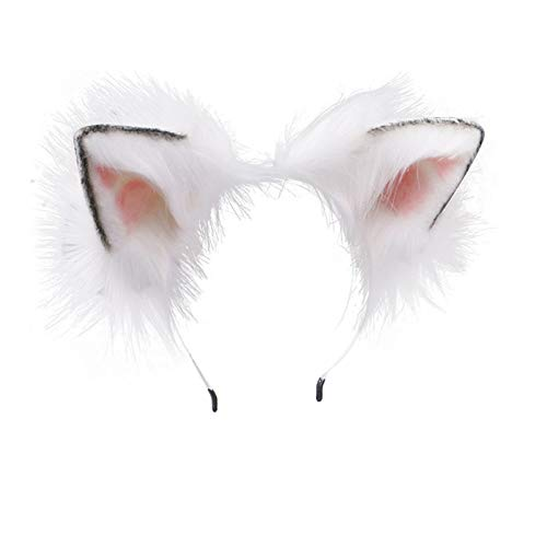 Fxaelian Animal Anime Cute Wolf Bear Cat Dog Ears Headband with Bells Bows Halloween Cosplay Costume Party Hairband Headwear Headpiece Hair Accessories for Women Girls Adult Kids Black Red