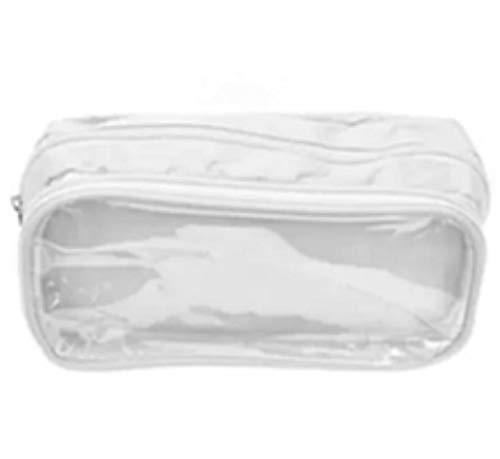 [CAWKAW] ポーチ ペンケース スモール バッグ 見せバッグ 透明 ビニール 痛バッグ 痛バ 缶バッジ 軽量 筆箱 (ホワイト)