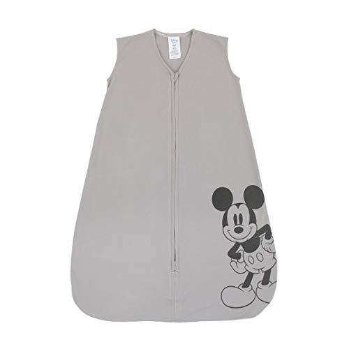 Disney Mickey Mouse 100% Cotton Knit Wearable Blanket, Grey/Black, 6-12 Months