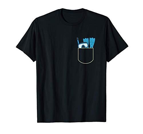 Divertido Gafas De Buceo En El Bolsa Regalo Buceador Pocket Camiseta