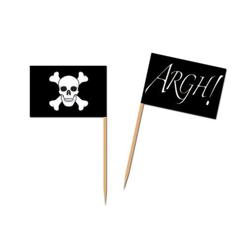A Beistle Creation 014-60105 FBA_60105 Piques de drapeau de pirate, Blanc/Noir