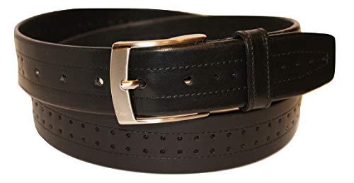 ITALOITALY - Echte Leder Gürtel Herren, Damen, ca. 4 cm Breit, Schwarz, Perforiert und Doppelt Genäht, Handarbeit, Made in Italy, Verkürzbar (Bundweite: 115cm = Gesamtlänge: 130cm)