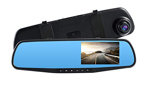 "Topsale-ycld 4.3\""1080P Dual Lens Car Auto DVR Mirror Dash CAM Recorder + Kit de cámara de visión Trasera"
