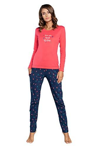 Damen Schlafanzug lang Pyjama Set | Nachtwäsche Hausanzug Langearm Rund Ausschnitt Zweiteiliger Sleepwear M007 (L, Rosa Blau)